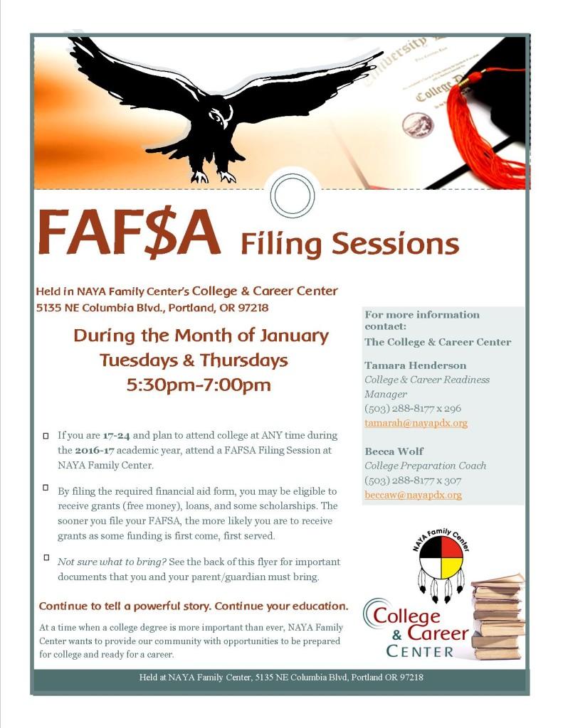 2016 FAFSA filing flyer