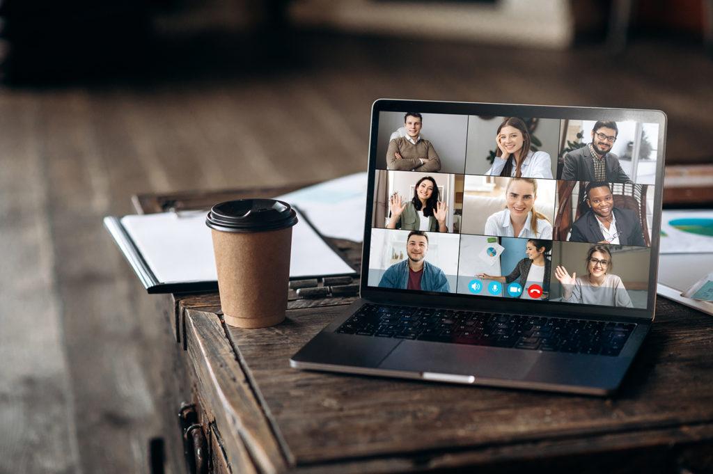 photo of virtual coffee meeting